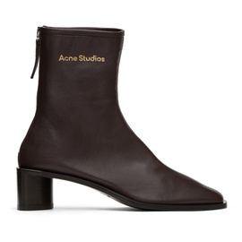 Acne Studios Brown Branded Heeled Boots 211129F113081