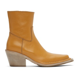 Acne Studios Tan Leather Ankle Boots 211129F113089