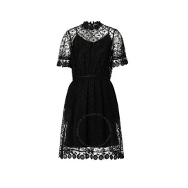 Burberry Ladies Black Floral Embroidered Tulle Lace Dress 8014198