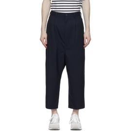 Comme des Garcons Homme Navy Tropical Wool Wide-Leg Trousers 211057M191110