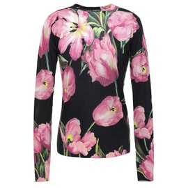 DOLCE & GABBANA Black Floral-print cashmere and silk-blend sweater 14097096491355471