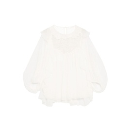 DOLCE & GABBANA Ivory Ruffled guipure lace-paneled silk-georgette blouse 8378037991001042
