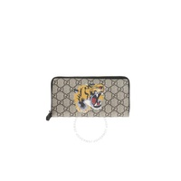 Gucci Bestiary Beige Mens Tiger Print Gg Supreme Zip Around Wallet 451273 K5Z1N 8666