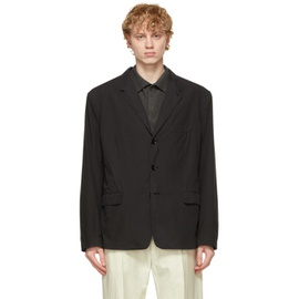 Lemaire Black Soft Single Breasted Blazer 211646M195011