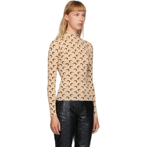 Marine Serre Beige & Black Moon Allover Turtleneck 202020F099018