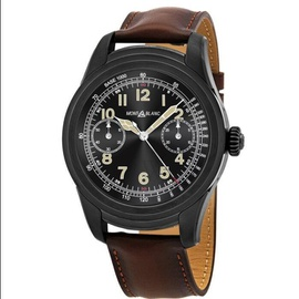 Montblanc Men's Summit Smartwatch Chronograph (Calfskin) Leather Black Digital Dial Watch 117542