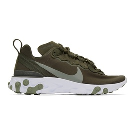 Nike Green & White React Element 55 Sneakers 201011F128048