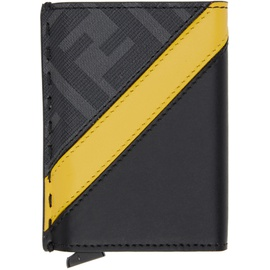 Black & Yellow Forever 펜디 Slide Out Card Holder 202693M163249