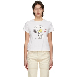 Re/Done White Peanuts Edition Snoopy & Woodstock T-Shirt 211800F110010