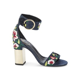 Roger Vivier Embroidered Floral Ankle-Strap Sandals 0400012540630