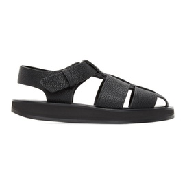The Row Black Leather Fisherman Sandals 211359F124008