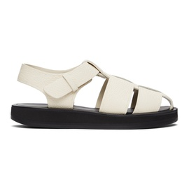 The Row Off-White Leather Fisherman Flat Sandals 211359F124009