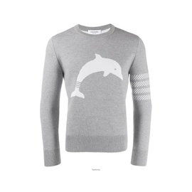 Thom Browne Light Grey Dolphin Icon Intarsia Wool Blend Pullover MKA281A-00014-055