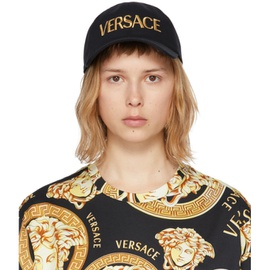 Versace Black & Gold Embroidered Logo Cap 211404F016551