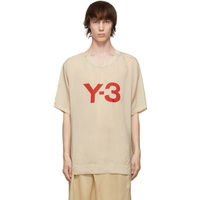 Y-3 Beige Sanded Cupro T-Shirt 211138M213038
