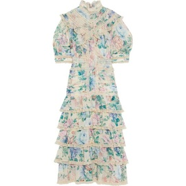 ZIMMERMANN Cream Verity Scallop tiered floral-print cotton and silk-blend midi dress 23471478576099270